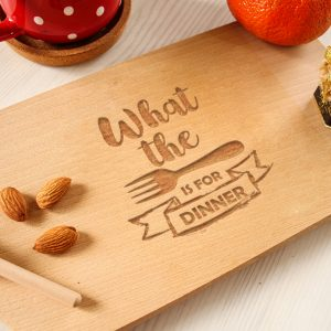 Tocător clasic personalizat – What the fork is for dinner